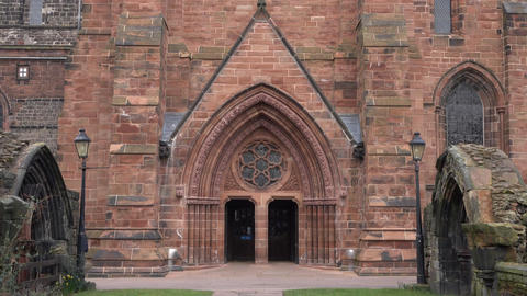 Carlisle Cathedral England historic church entrance doors 4K Footage