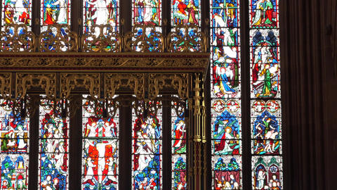 Carlisle Cathedral England zoom from stained glass window to altar 4K Footage