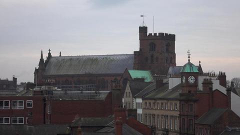 Carlisle England Cathedral neighborhood apartments buildings 4K Footage