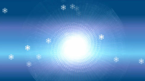 Frosty blue winter background with shimmering sun and flying snowflakes, video Animation