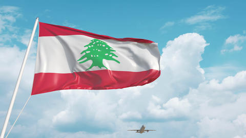 Airliner approaches the Lebanonese flag. Tourism in Lebanon Live Action