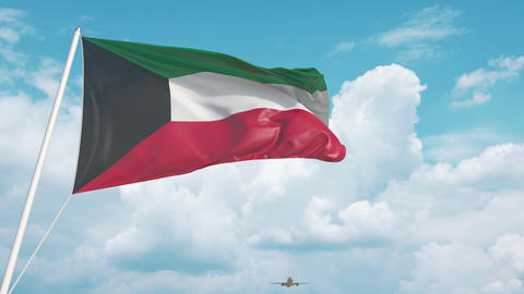 Airliner approaches the Kuwaiti flag. Tourism in Kuwait Live Action