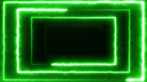 Neon rectangles of green color, seamless animation. 4k glowing neon line Live Action