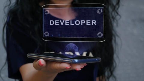 Woman showing HUD hologram Developer Live Action