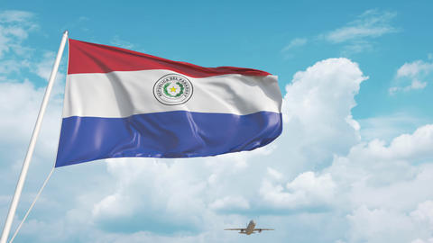 Plane arrives to airport with flag of Paraguay. Paraguayan tourism Live Action