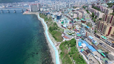 Aerial View of Huinnyeoul White Shoal Culture Village, Yeongdo, Busan, South Korea, Asia Live Action