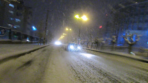 Winter City - Snowy Street GIF