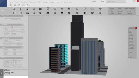 Software mock up of 3D buildings for architecture Live Action