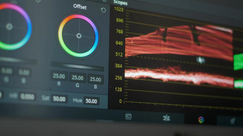 The software interface for color grading video in film and television Live Action