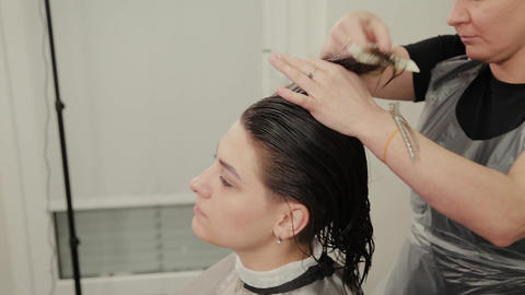 Professional hairdresser woman doing hairstyle on wet hair to client Live Action