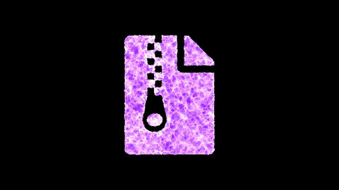 Symbol file archive shimmers in three colors: Purple, Green, Pink. In - Out loop. Alpha channel Animation
