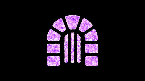 Symbol dungeon shimmers in three colors: Purple, Green, Pink. In - Out loop. Alpha channel Animation