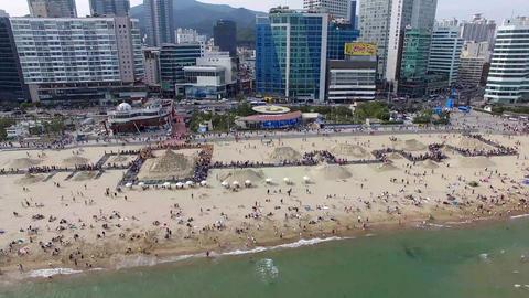 Aerial View of Haeundae Beach Sand Festival, Busan, South Korea, Asia Live Action
