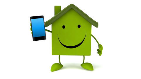 Green house with phone Animation