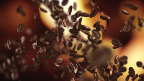 Coffee beans hit on the fly Animation