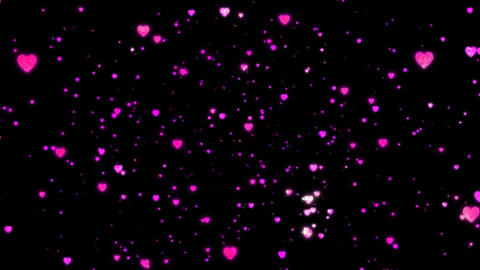 Particle of a lot of shining hearts(wiggle rotation) Animation