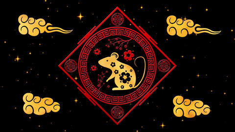 Black Chinese New Year background with gold, rat, 3D rendering loop 4k. Magical Animation