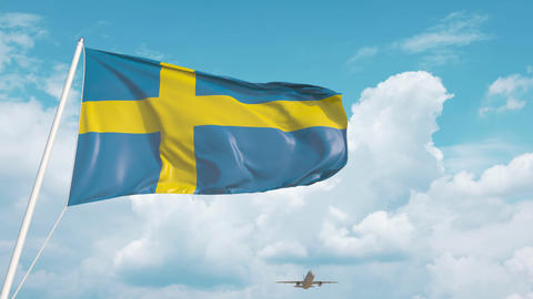 Airliner approaches the Swedish flag. Tourism in Sweden Live Action