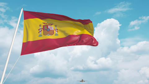 Plane arrives to airport with flag of Spain. Spanish tourism Live Action