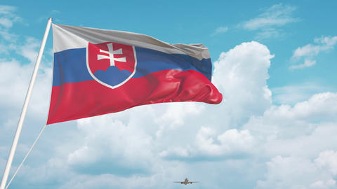 Airliner approaches the Slovak flag. Tourism in Slovakia Live Action