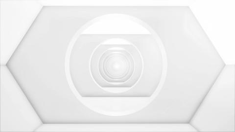 White corridor. Minimal white background. Interior office business. Futuristic Live Action
