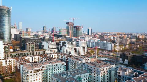 Warsaw, Poland - April 9, 2019: Aerial view of construction cranes and building Live Action