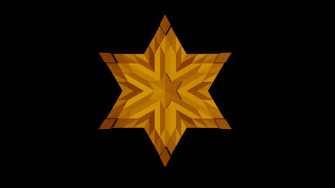 David's star, animation using moving light and shadow, yellow star with the Animation