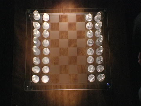 Chess player move chess pieces on a game board Stock Video Footage