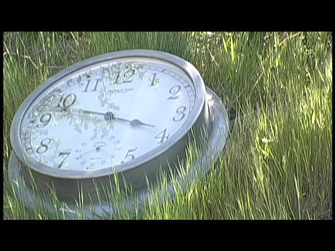 Time passes on a clock lying in the grass Stock Video Footage