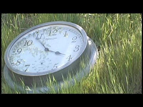 Time passes on a clock lying in the grass Footage