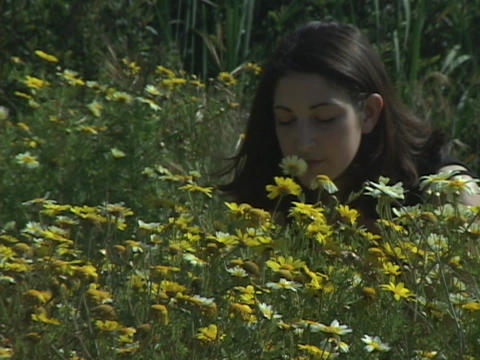 A Girl Smells Flowers In A Field stock footage