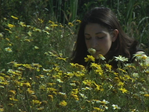 A girl smells flowers in a field Stock Video Footage