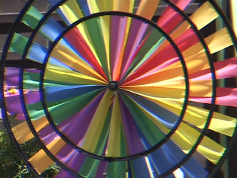 A colorful pinwheel spins Footage