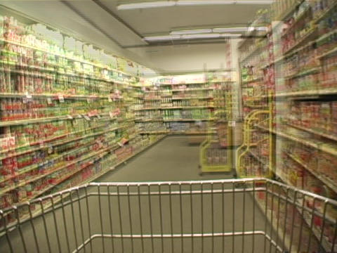 Consumers purchase items in a grocery store Footage