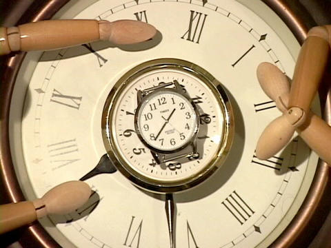 Mannequins watch a ticking clock Stock Video Footage