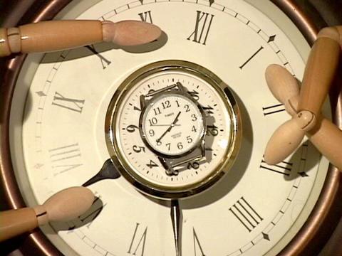 Mannequins watch a ticking clock Footage