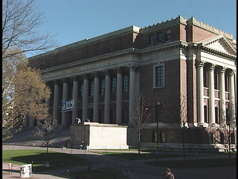 The Widener Library adorns the campus at Harvard University Stock Video Footage