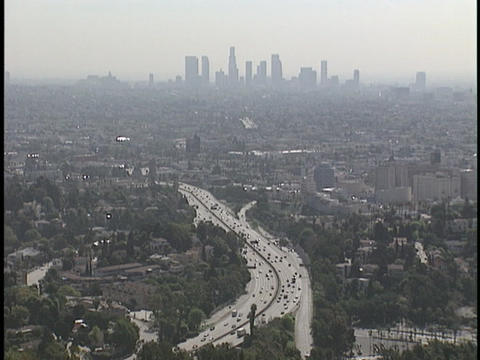 Traffic drives on a freeway Footage