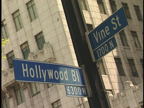 Street signs show the intersection of Hollywood Boulevard and Vine Street Footage