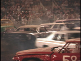 Multiple demolition cars crash into each other in an... Stock Video Footage