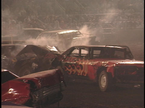 Demolition cars repeatedly crash into one another Footage