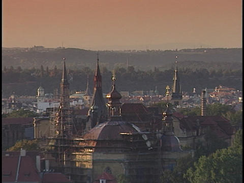 Beautiful spires rest above a crowded city skyline Stock Video Footage