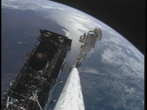 Astronauts work on the International Space Station Stock Video Footage