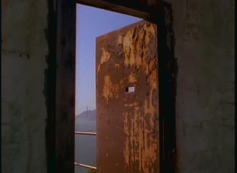 View through a window at Alcatraz prison Stock Video Footage