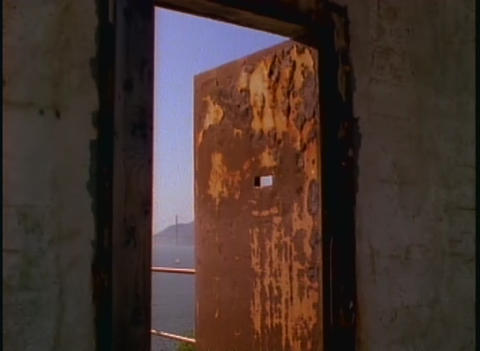 View through a window at Alcatraz prison Stock Video Footage