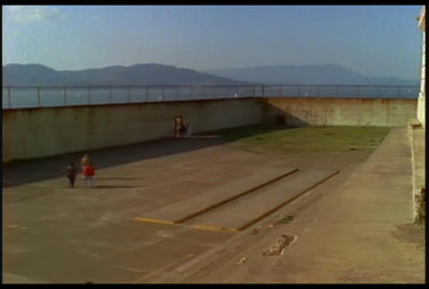 View of a courtyard at Alcatraz prison Footage