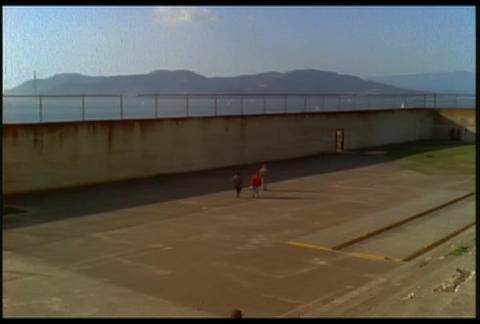 View of a courtyard at Alcatraz prison Stock Video Footage