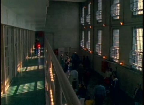 Interior of Alcatraz prison with tourists Stock Video Footage