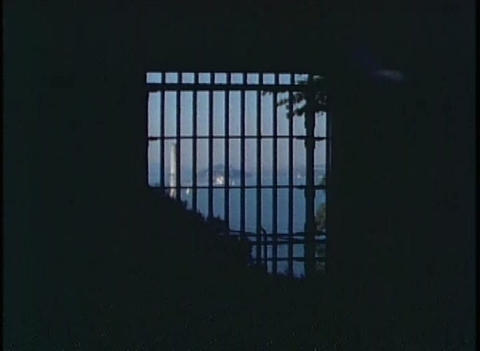 Shot through Alcatraz prison bars of San Francisco Stock Video Footage