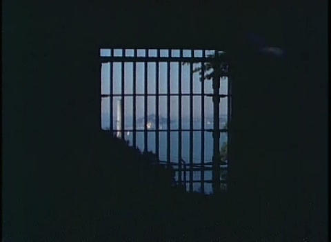 Shot through Alcatraz prison bars of San Francisco Stock Video Footage